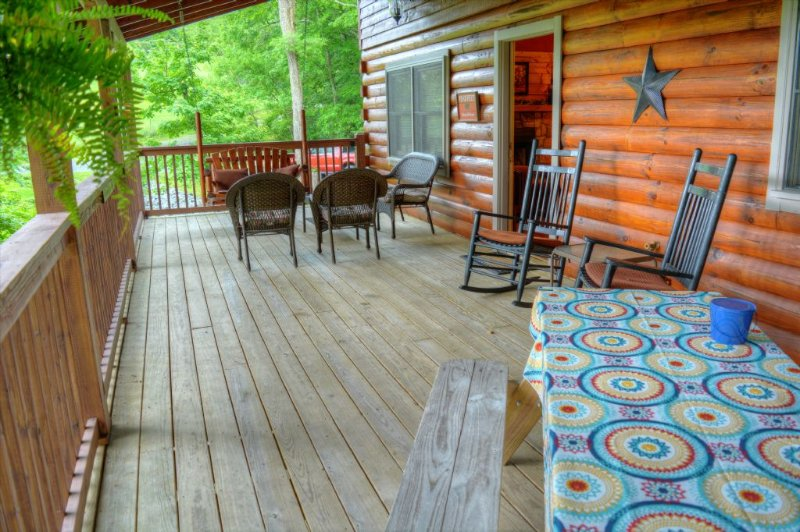 Another View of Covered Deck with Picnic Table