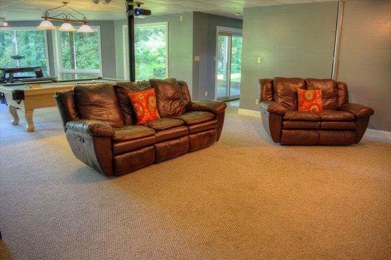 Reclining Couch & Love Seat in Theater Room
