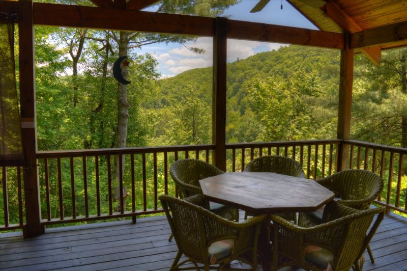 Enjoy the Mountains on the Covered Deck