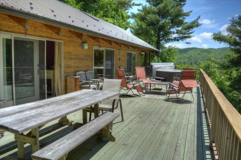 Large Deck with Soft Mountain Views