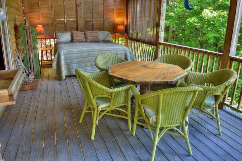 The King Size Bed Under the Covered Deck