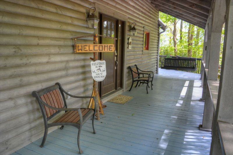 Covered Front Deck with Porch Swing