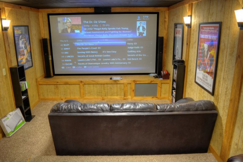 Theater room with Direct TV, XBox, and Wii