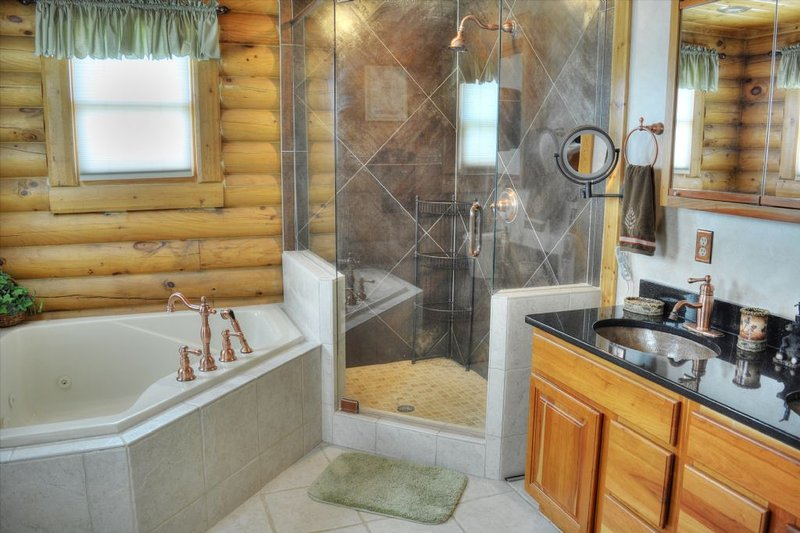 Whirlpool tub and walk in shower