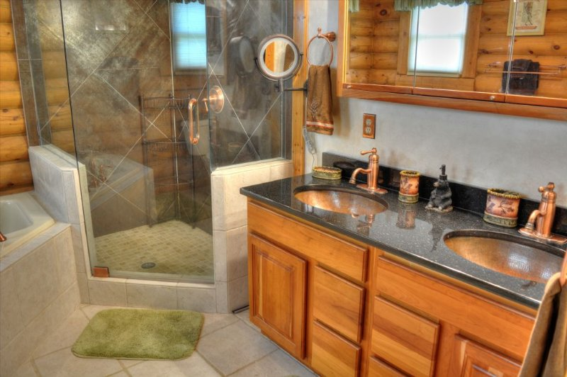 His/Her Copper Sinks in Master Bathroom