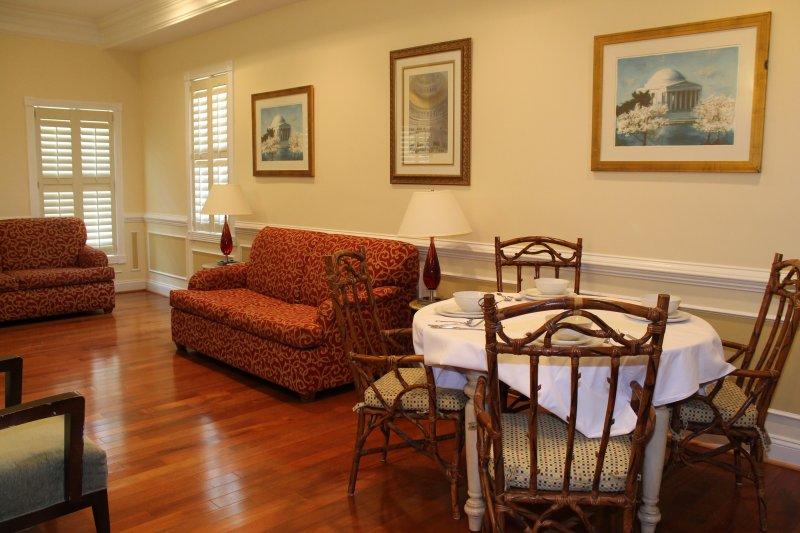 Grande surface de salle de séjour avec de beaux sols et de belles tentures murales