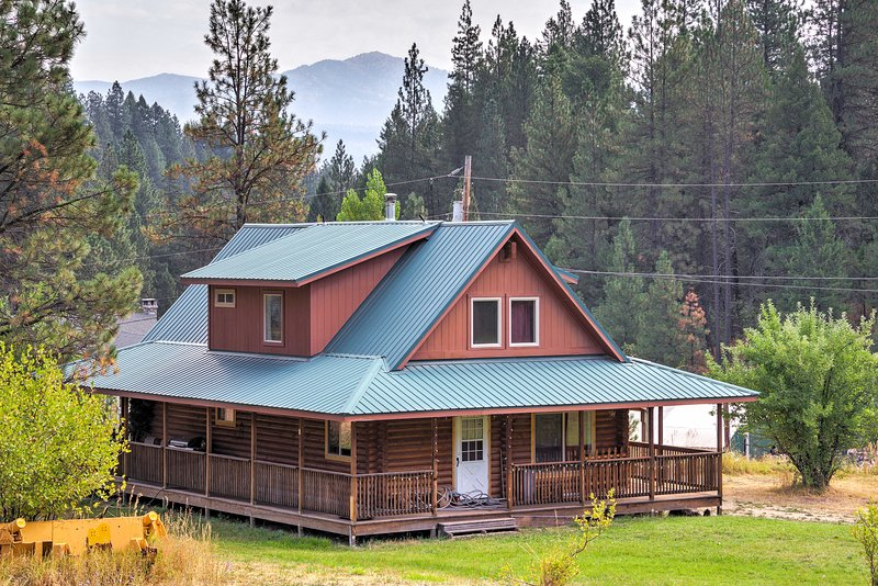Escape to the mountains when you stay at this 5-bedroom, 2-bathroom vacation rental cabin in Garden Valley!