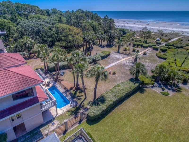 Aerial view showing lovely pool and close proximity to ocean.