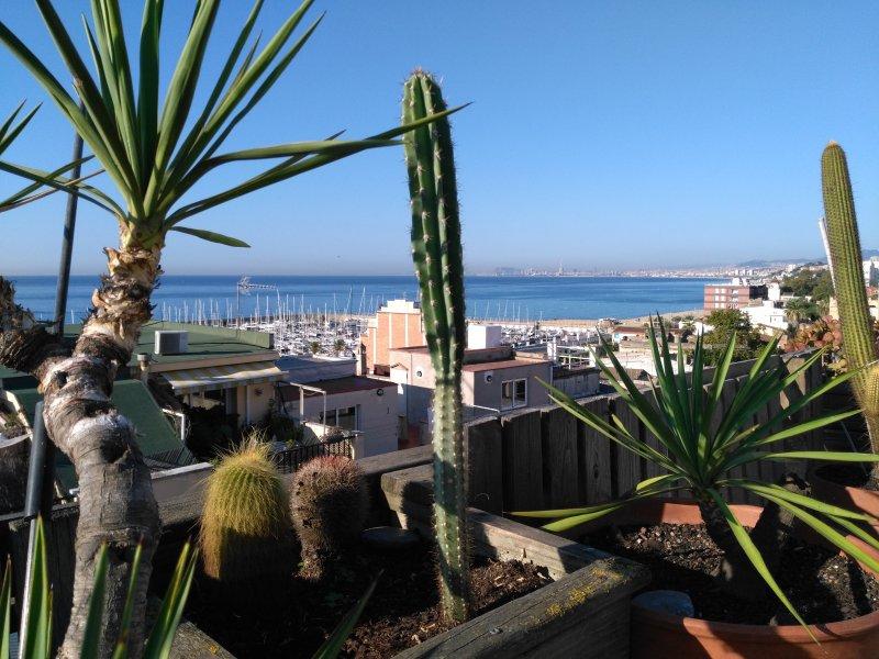 Vue sur la mer et Barcelone au fond de la baie depuis la terrasse