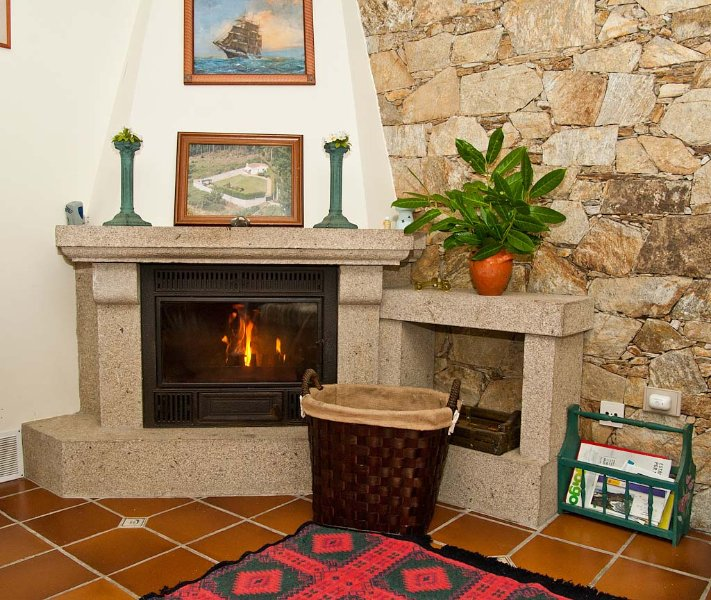 wood fire place in room