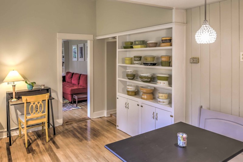 You'll be able to stay up-to-date on work e-mails with an at-home office space in the dining room.