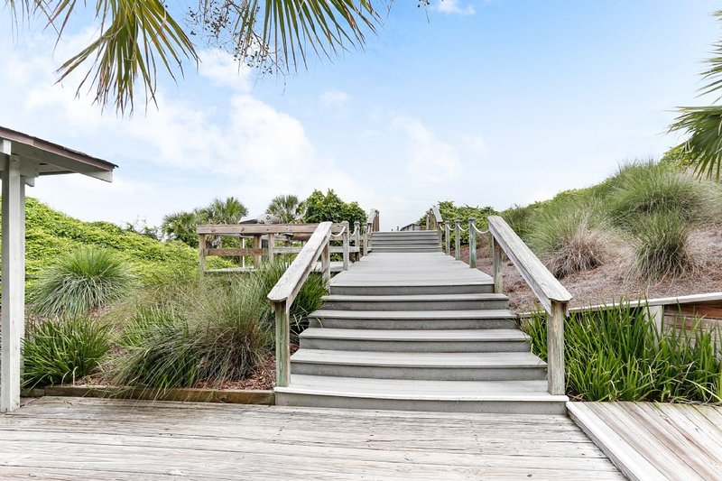 Walkway to the beach and grills