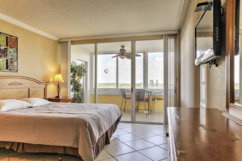 This master bedroom features wonderful views and a king bed.