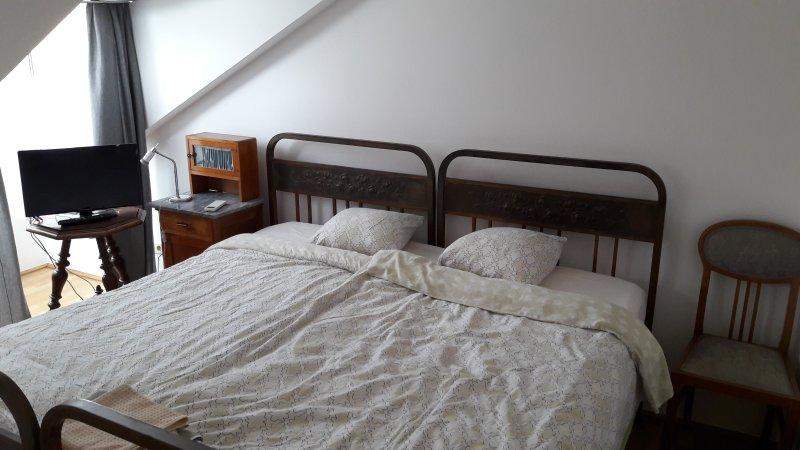 2 camas grandes en la sala de estar como 1 cama grande