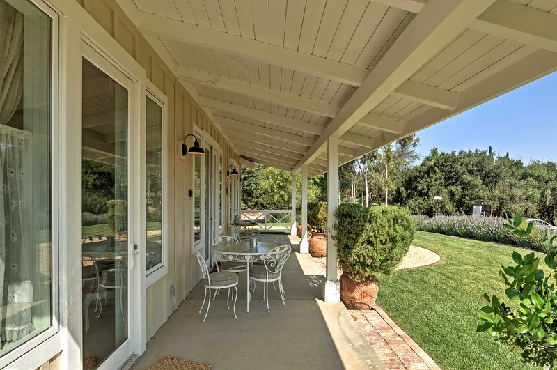Fresh eggs from the resident chickens will be provided for a heathy, hearty breakfast and you can enjoy the sunrise on your private covered patio.