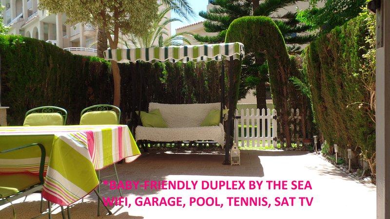 Godetevi il vostro patio privato! Ideale per i bambini! Sud orientata e con tende da sole.