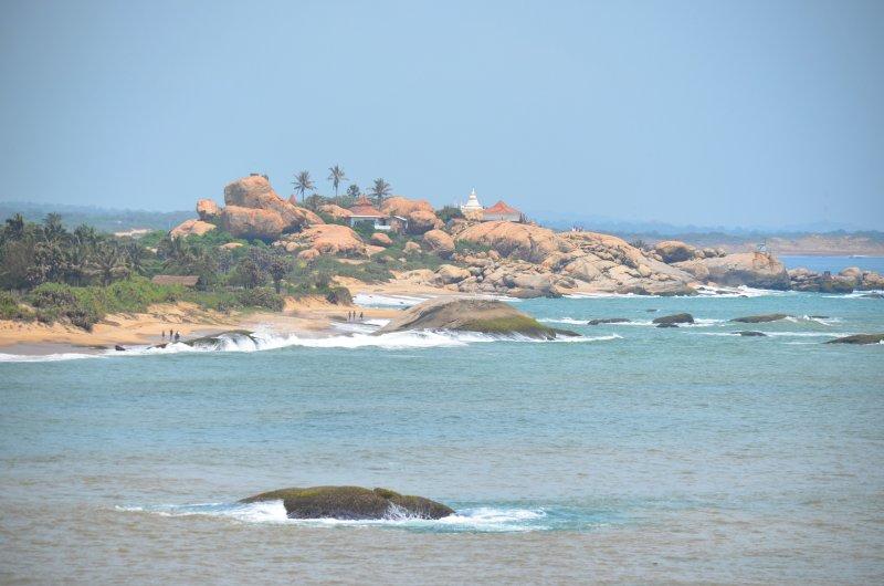 Kirinda beach and temple seen from the hotel