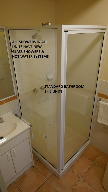 All bathrooms in all rooms have New Shower glass.