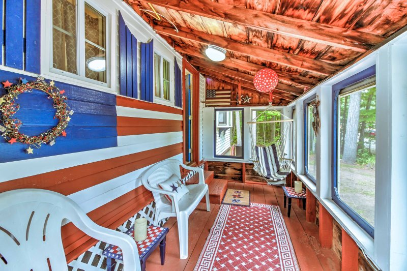 The cottage features a sunroom - perfect for lounging with coffee in the morning