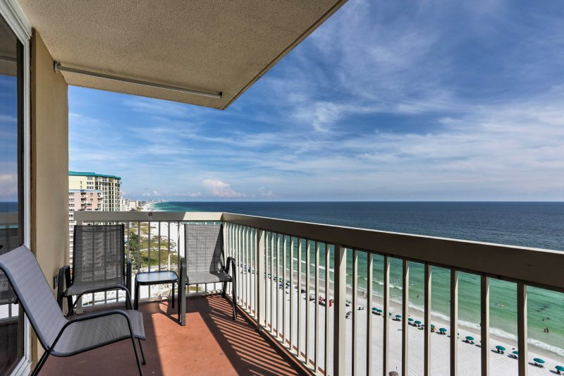 Enjoy mesmerizing sunsets while relaxing on your balcony with views of the Gulf!