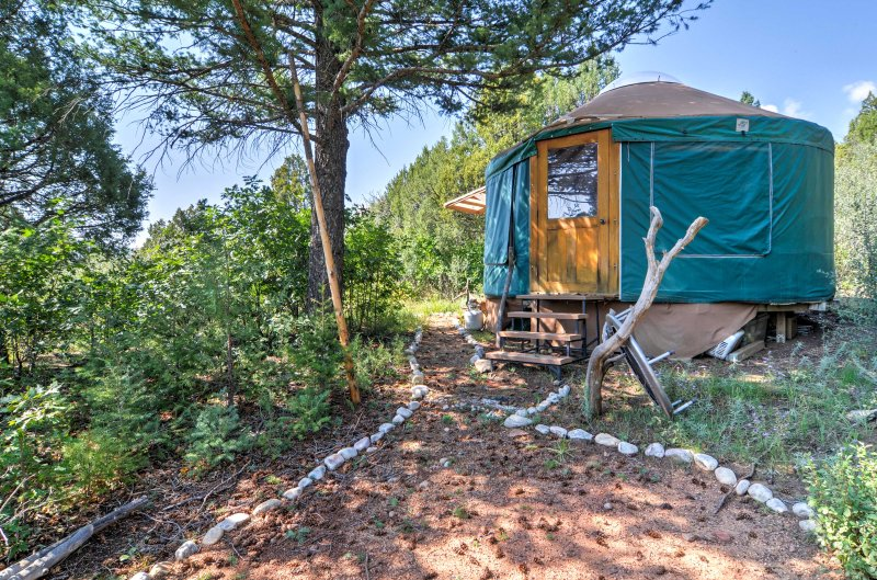 The cozy Harris Yurt is available for an added fee, and is just a short, scenic walk from the main house.