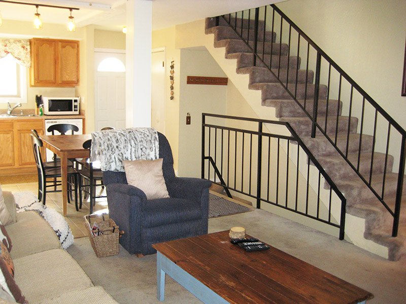 Living Room and Stairs to Loft