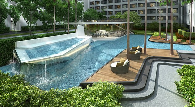 Relax around the pools.