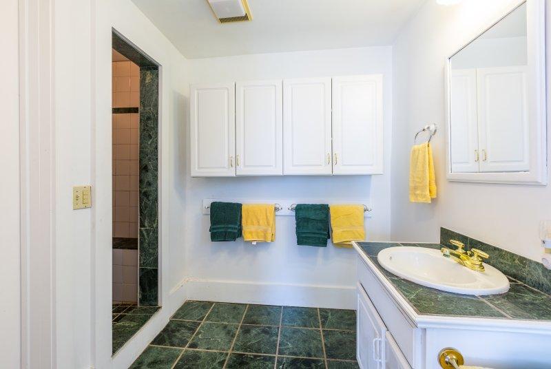 Das en-suite Master-Bad verfügt über eine Standdusche.