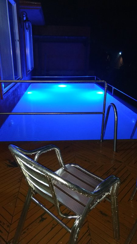 Private Pool in the night this is how it looks complete privacy you will get as it on the small Hill