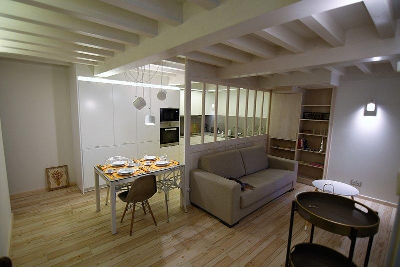 Vista general zona sala y cocina