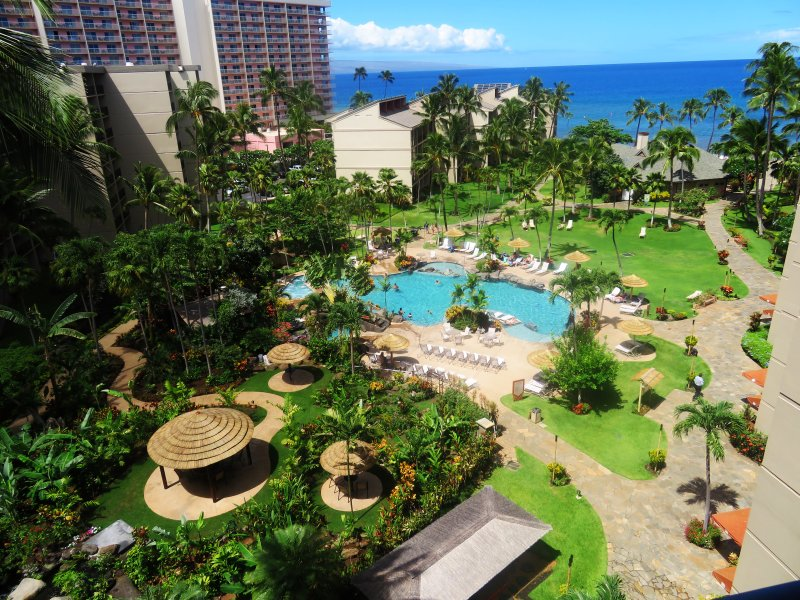 Gorgeous view from lanai - both garden and ocean
