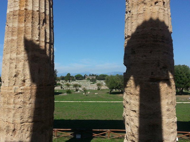 Paestum Templo de Atena, as colunas do Templo de Netuno