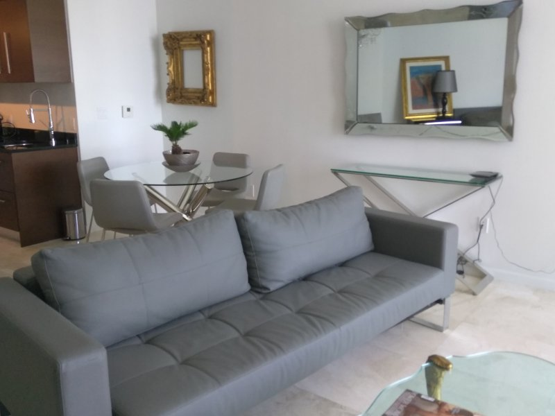 Beautiful letter Sofa cama in the living room with amaizing balcony water view