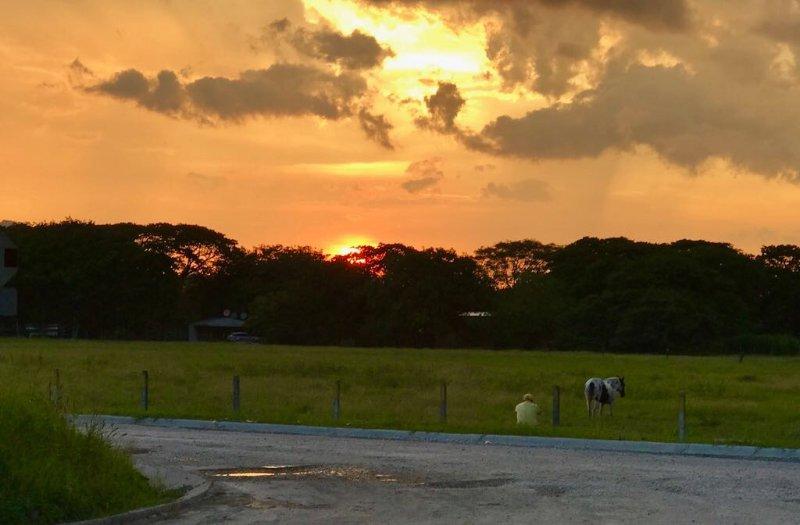 puesta de sol en Costa Rica .... Sólo un hombre y su caballo