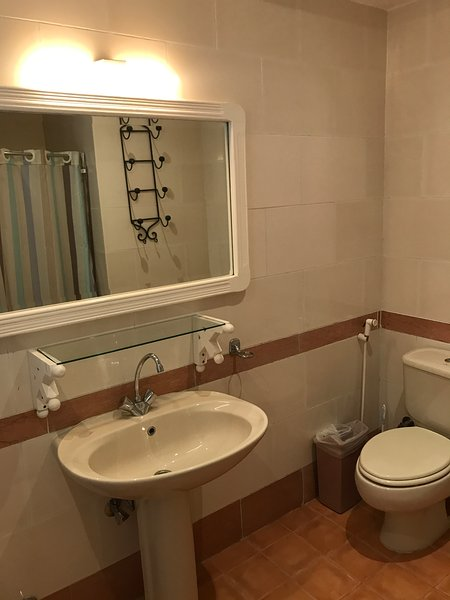 typical ensuite with shower, wash hand basin toilet and bidet