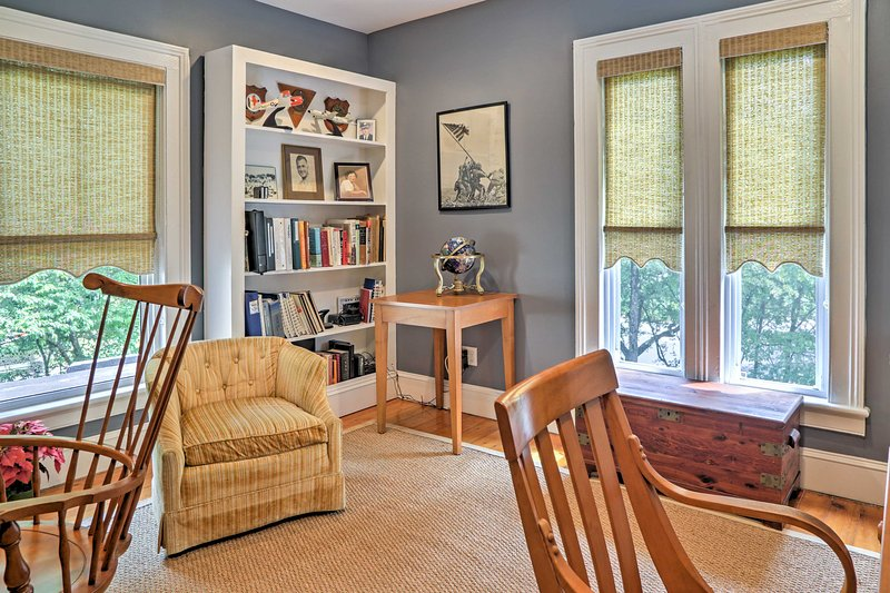 This cozy room is a great spot for completing any last-minute work.