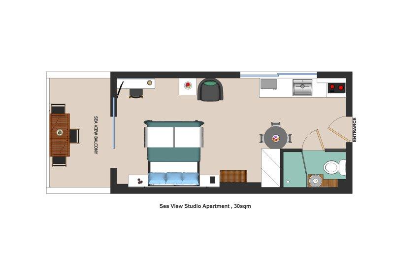 Floor plan - Holiday Beach Studio Apartment in Kiveri village close to Nafplion