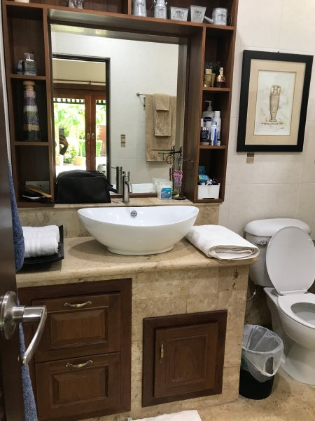 Master bedroom full toilet. Newly renovated cabinetry.