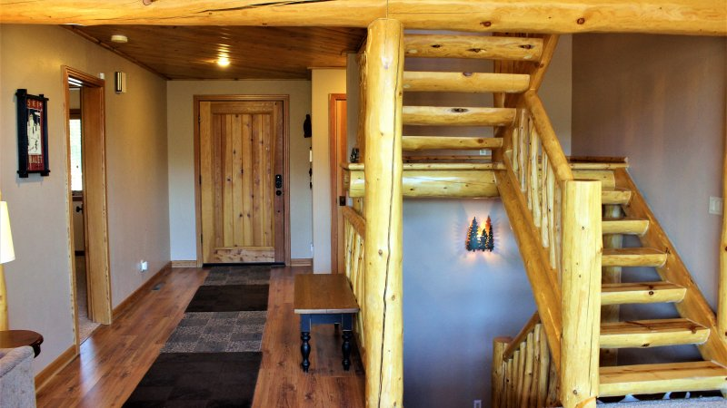 Beautiful Log accents throughout