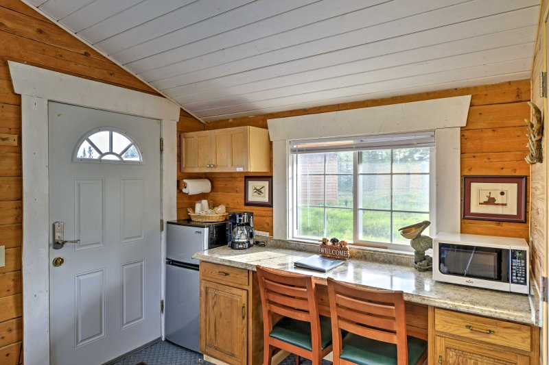The kitchenette boasts a coffee maker, fridge, and microwave  for you and your travel companions convenience.
