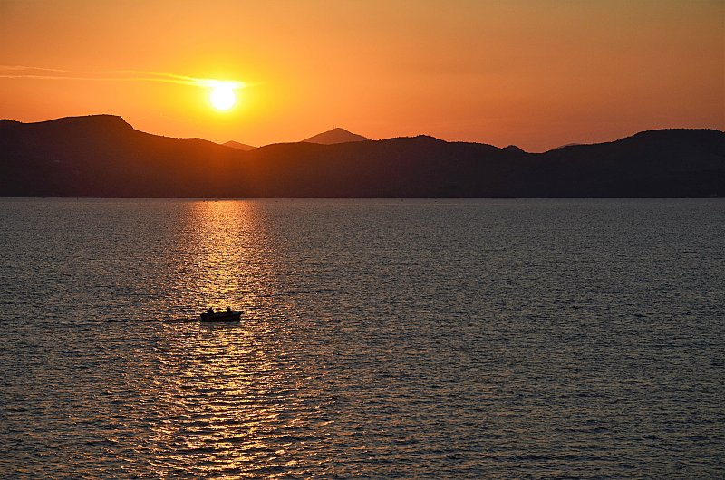 Sonnenuntergang von Balkon- Holiday Beach Apartment in Kiveri Dorf in der Nähe Nafplion