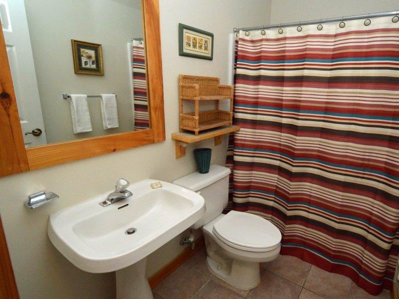 Kids banheiro está fora da porta do quarto. Banheira / ducha Secador de cabelo.
