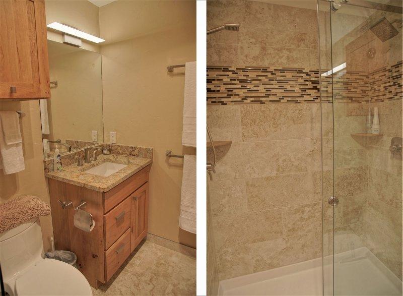 Bedroom 1 has an en suite bathroom with dual headed shower
