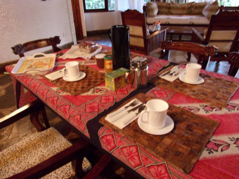 dining table with breakfast.