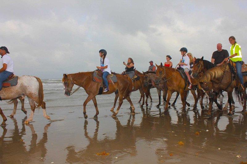 Sunset Pferd Fahrt entlang Strand.