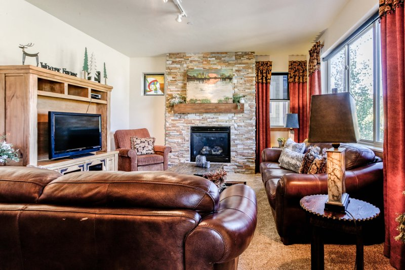 Watch a movie with the family or warm up next to the fireplace