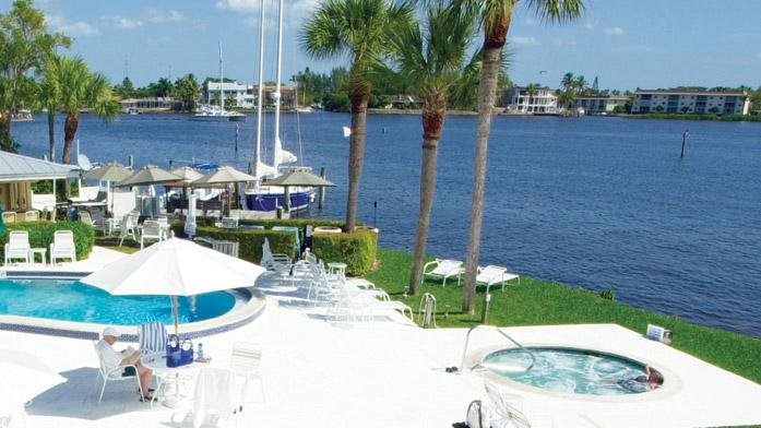 Charter Club Resort Pool Deck on Naples Bay