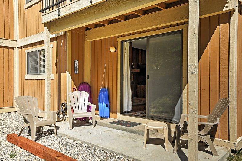 The corner-unit is nestled on the ground floor of Beaver Village condominiums!