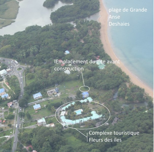 location aerial view of cottage before building; Photo taken from an airplane