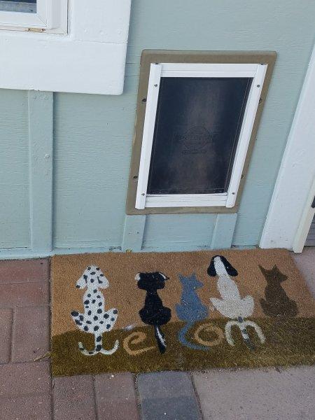 A doggie door for the furry kids.